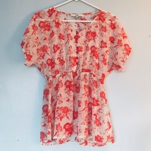 FOREVER 21 sheer peach floral button shirt